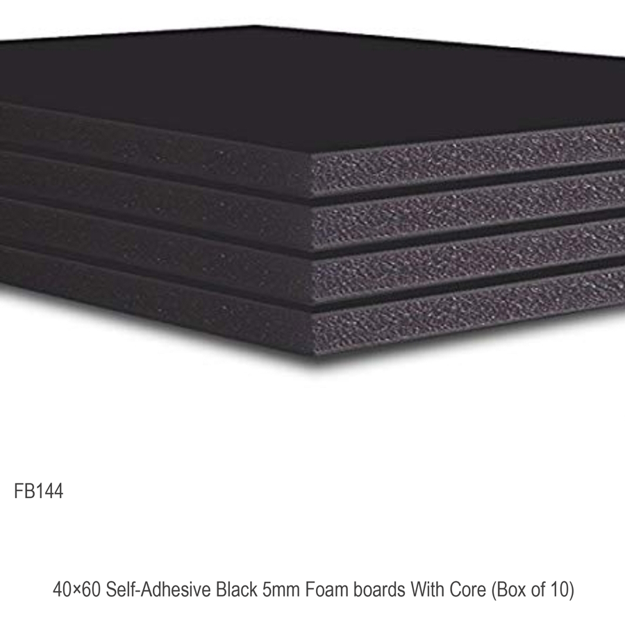 40x60 Self-Adhesive Black 5mm Foam boards With Core (Box of 10)